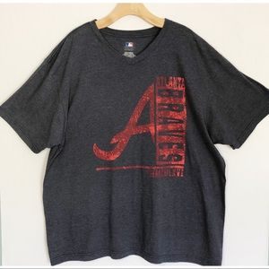 ATLANTA BRAVES Graphic Tee Size 2XL Navy and Red